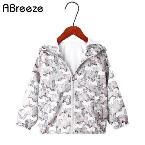 novo classico primavera verao criancas jaquetas meninas 2020 cinza unicornio imprimir fino meninas outerwear casacos