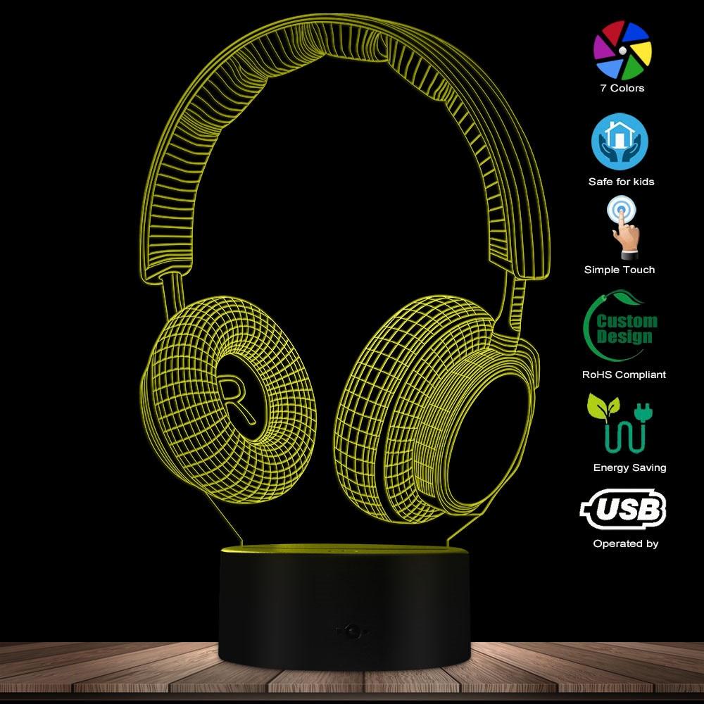Modern Earphone Headset Decorative Lighting Art Table Lamp 3D Phone Design Optical Illusion LED Novelty Night Light Gift For Him