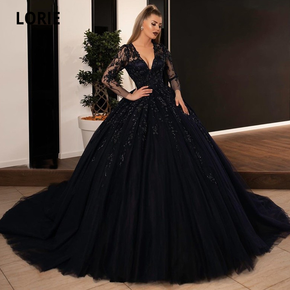 LORIE Ball Gown Black Wedding Dresses Sequin Lace Appliques Bridal Gowns  with Long Sleeve Lace up Princess Party Dress Plus Size