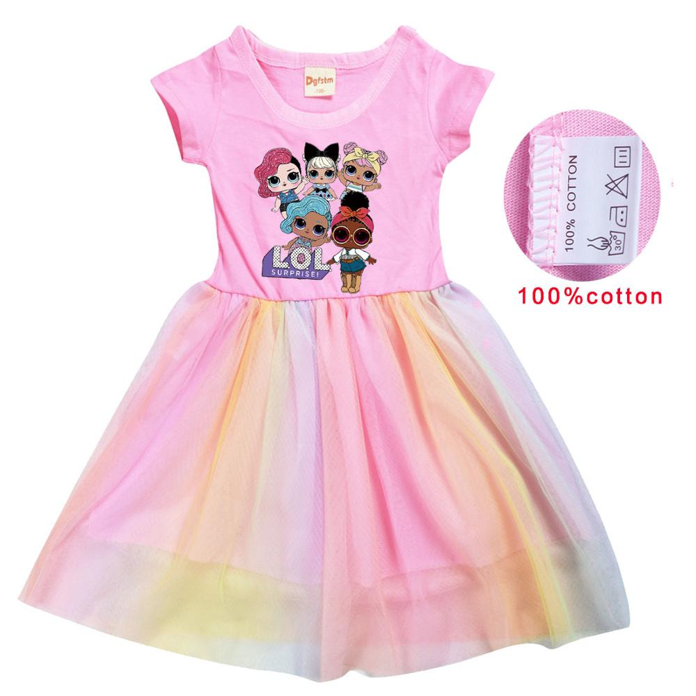 LoL Surprise Summer Girl Kid T Shirt Colour Gauze Pleated Princess Patchwork Dress Cute Cartoon Printed Doll Baby Child Clothes 3