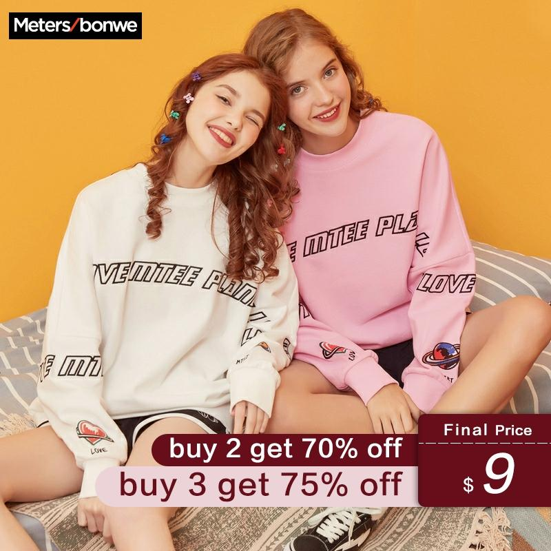 Metersbonwe MTEE Hoodies For Women Cartoon Printing Streetwear Casual O-Neck Sweatshirt 2019 New Women Hip Pop Tops