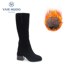 Fashion Shoes Winter Boots Suede Thick-Heels Black Kid Wool for Cool Vair Mudo High-Quality