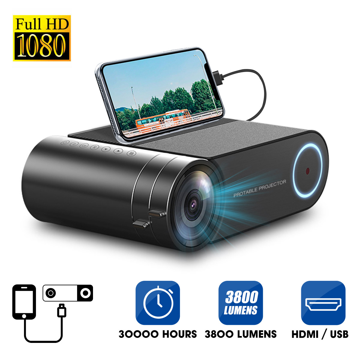 4K 3800 Lumes светодиодный проектор портативный 1080P Full HD проектор Красочный мультимедийный кинотеатр HDMI VGA AV USB открытый домашний