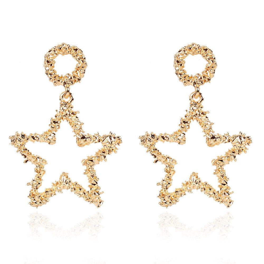 Europe and America Elegant Cool Alloy Hollow out Stars Earrings Cross Border Versitile Fashion Earrings Ear Stud F8020