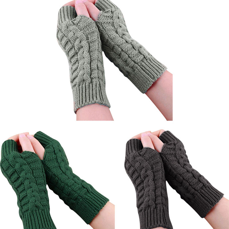 Women Men Twist Crochet Knitted Fingerless Gloves Short Arm Sleeve Autumn Winter Thick Soft Warm Mittens Solid Color Arm Cover
