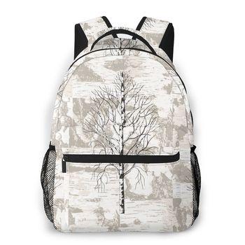 Backpack Women Shoulder Bag For Teenage Girls Birch Trees On Birch Bark Background Bagpack Female Ladies School Backpack фото