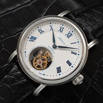 Reloj Tourbillon de alta gama para hombre, reloj impermeable de 50 m, gaviota ST8000, reloj de movimiento de piel de cocodrilo, relojes mecánicos para hombres, como regalo