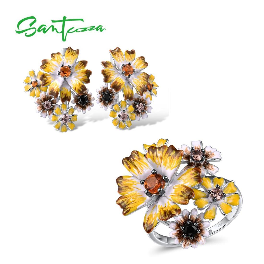 SANTUZZA Silver Jewelry Set For Women 925 Sterling Silver Elegant Yellow Flowers Earrings Ring Set Fine Jewelry Handmade Enamel