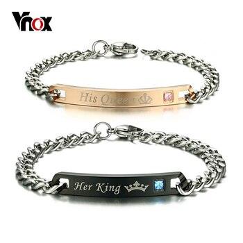 VNOX Kostenlose Gravur DIY Seine Königin Ihre König Paar ID Armband für Frauen Männer CZ Steine Liebhaber Krone Charme Gliederkette Schmuck