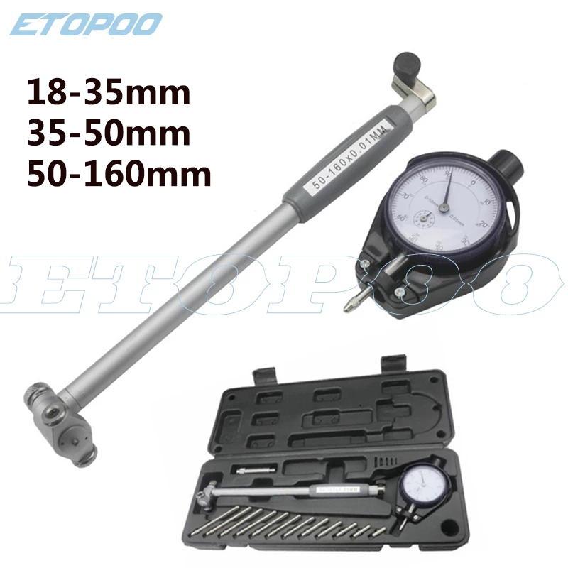 Dial Bore Gauge Indicator 18-35-50-50-160MM 0.01mm Diameter Indicators Precision Engine Cylinder Measuring Test Kit Tool Meter