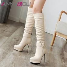 ANNYMOLI Winter Knee High Boots Women Buckle Stiletto Heel Tall Pleated Super Shoes Female Autumn Big Size 3-12