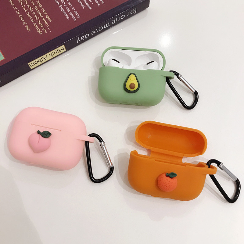 3D Cartoon Fruit For Airpods Pro 3 Case For Apple Wireless Bluetooth Headphone Protection Cover Soft Silicone TPU Shell