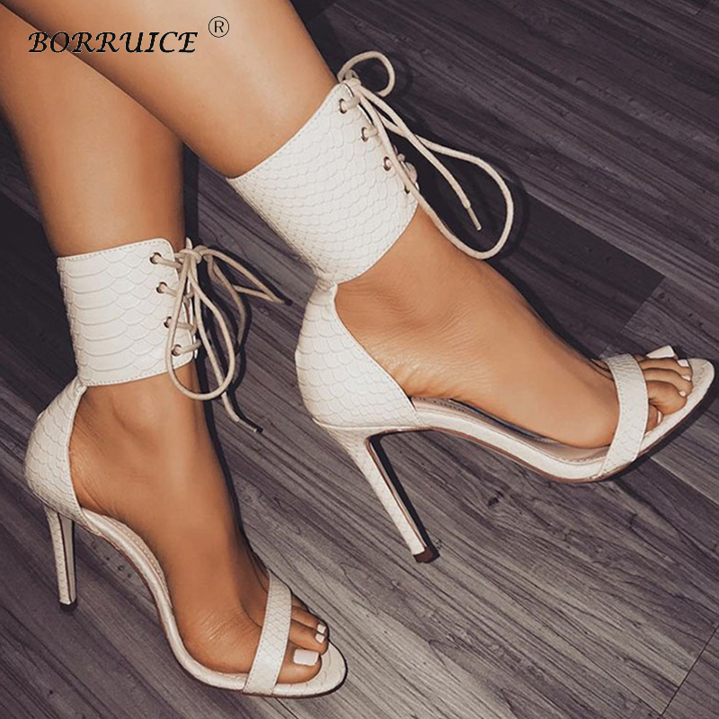 BORRUICE Fashion Summer Woman Sandals Pumps Thin Air Heels Womens Shoes Super High-heeled Open Toe Sexy Stiletto Party