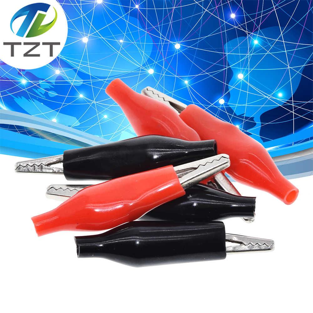 10 יח'\חבילה 28MM מתכת אליגטור קליפ G98 תנין חשמל קלאמפ עבור בדיקות בדיקה מטר שחור ואדום עם פלסטיק אתחול מדורג