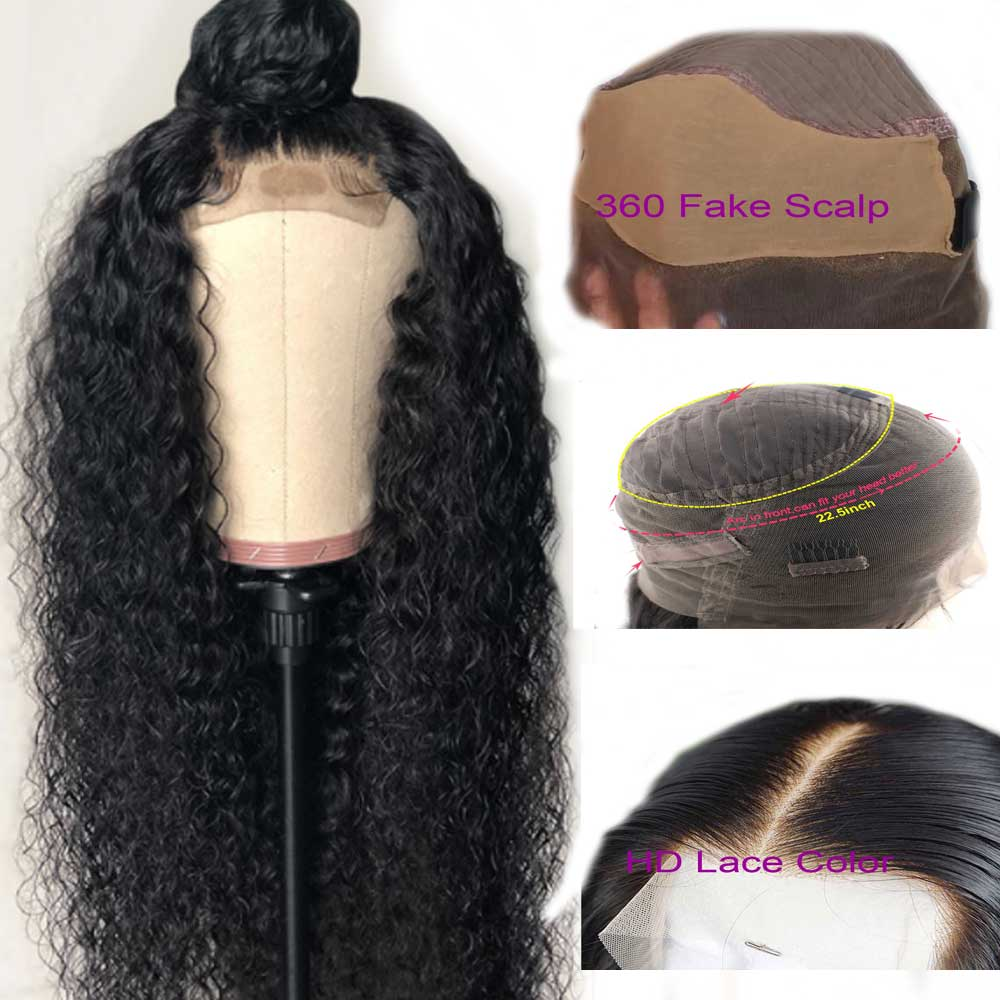 Curly 360 Fake Scalp Lace Frontal Human Hair Wig Pre Plucked Brazilian Remy Invisible Lace Wig For Black Women Atina