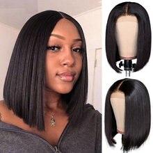 Perruque brésilienne naturelle, cheveux lisses, coupe courte au carré, 4x4, pre-plucked, avec Baby Hair