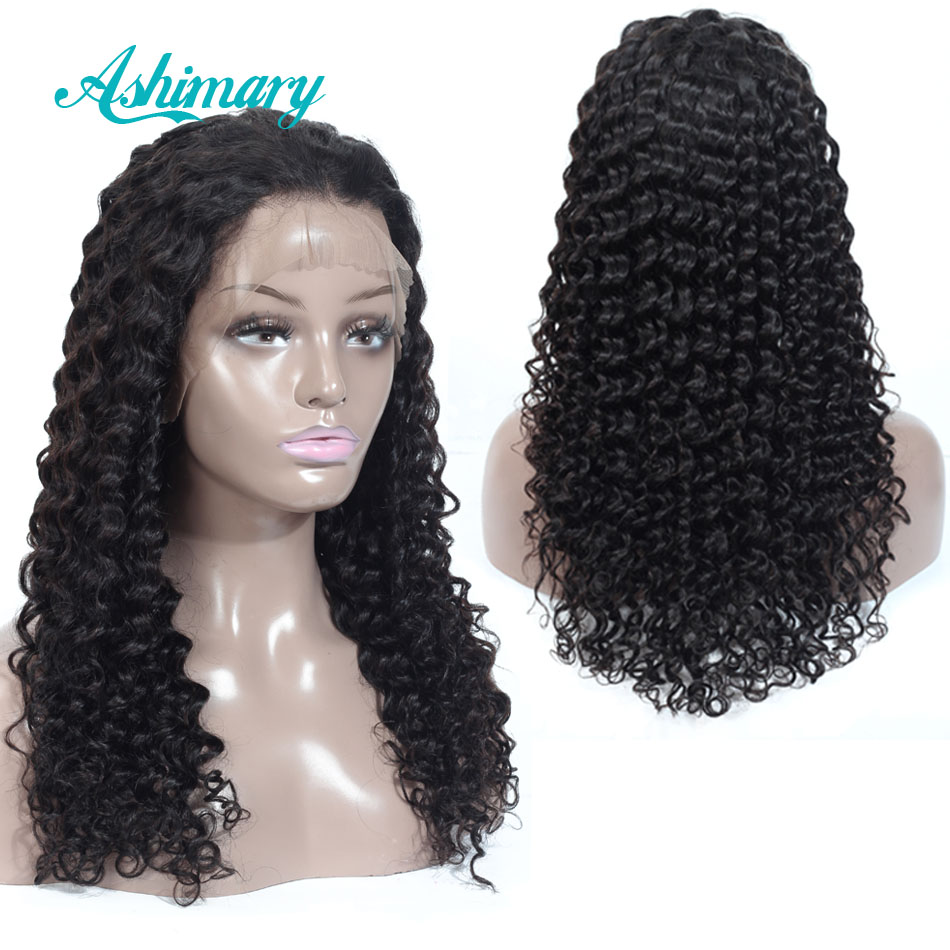 13X6 Lace Frontal Wigs Deep Wave Brazilian Lace Frontal Wigs With Baby Hair Remy Human Hair Lace Wigs For Black Women Ashimary
