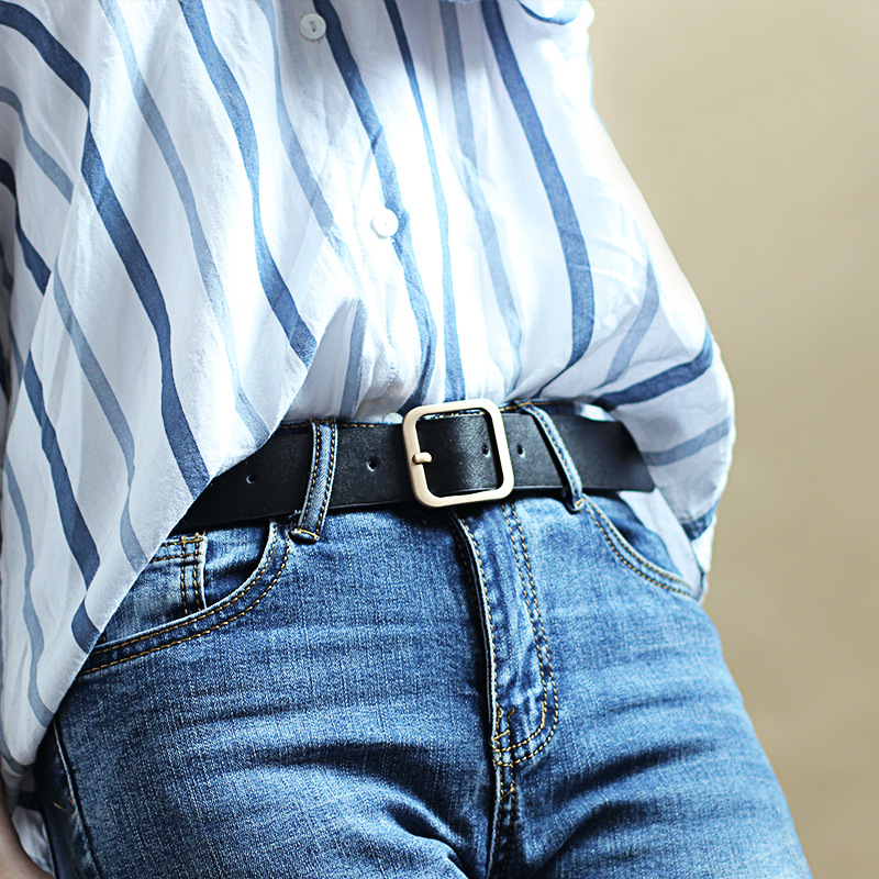 90-110x3.3cm New Wide Leather Waist Strap Belt High Quality Women Gold Square Pin Metal Buckle Belts Woman Belts For Jeans