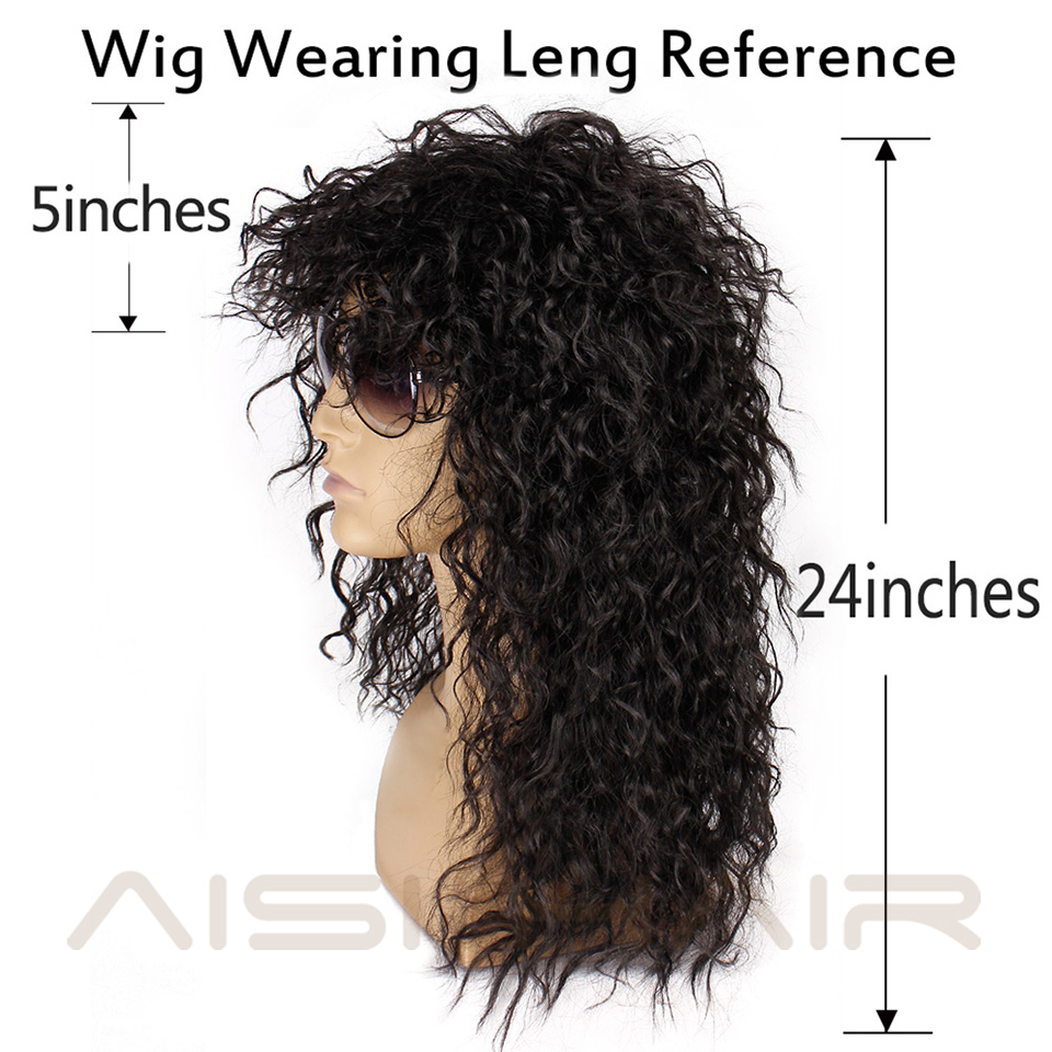 Image 4 - AISI HAIR Long Natural Black Curly wigs With Bang 20 Inches Synthetic Wigs  for Black Man/Women Heat ResistantSynthetic None-Lace  Wigs   -