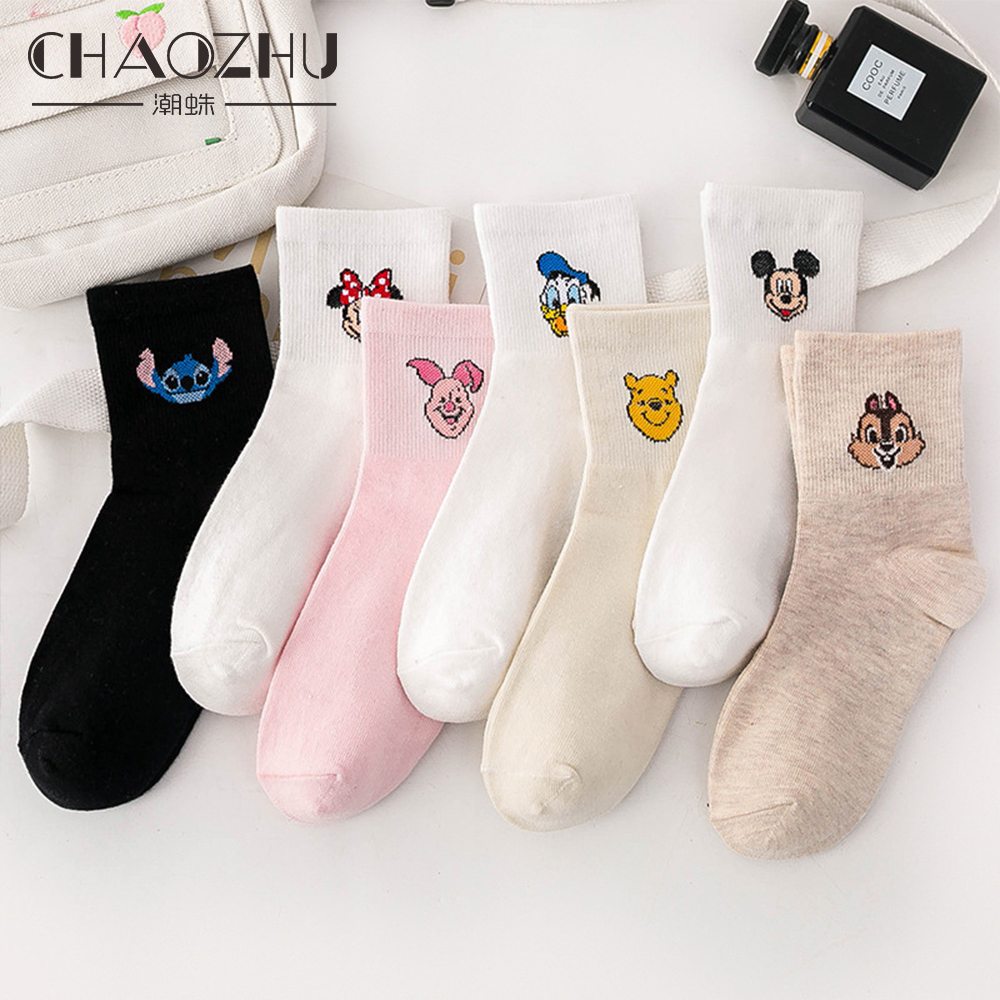 CHAOZHU Cartoon Animals Women Fashion Causal Cotton 200 Needles Knitting Spring Summer Ankle Trendy Socks Girls Cute Mouse Pig