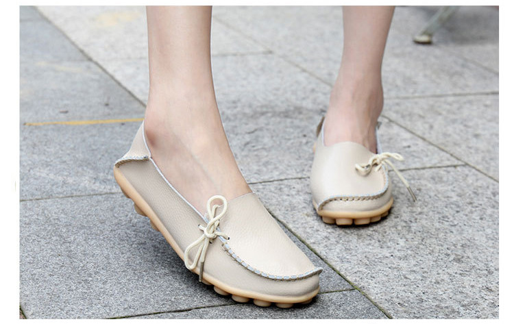 AH 911-2019 Spring Autumn Genuine Leather Women Loafers Walking Mother Flats-11