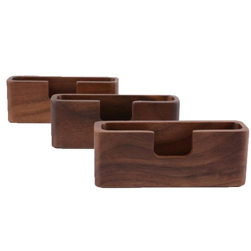 Log Business Card Box Simple Business Card Holder Solid Wood Creative Notes Clip Brown Card Table Desktop Wooden Finishing Box