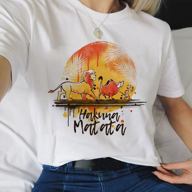 <font><b>Hakuna</b></font> <font><b>Matata</b></font> Kawaii Cartoon Harajuku T Shirts Women <font><b>Lion</b></font> <font><b>King</b></font> Ullzang Funny T-shirt 90s Graphic Tshirts Fashion Top Tees Female image