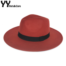 YY оранжевая фетровая Шляпка женская зимняя церковная кепка мужская Осенняя джазовая Панамы 9 см мягкая фетровая шляпа с широкими полями винтажные шляпы Трилби FD18111-1