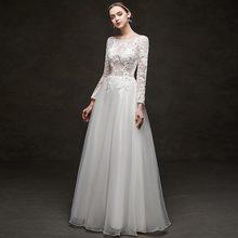 Элегантные линии Свадебные платья с длинными рукавами и овальным