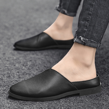 Man Mules Shoes Genuine Leather Men's Slippers Slip on Flats Casual Shoes Summer Breathable Black White Brown 2020 summer cool rhinestones slippers for male gold black loafers half slippers anti slip men casual shoes flats slippers wolf