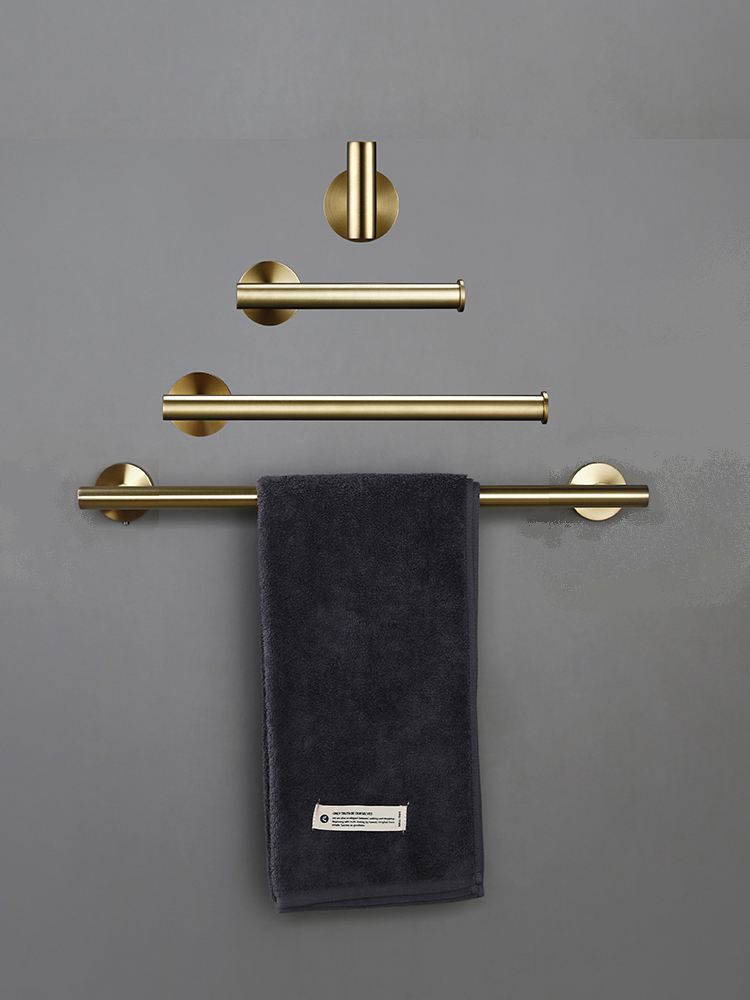 Towel-Hooks Paper-Holder Bathroom-Accessories-Kit Toilet Wall-Mounted Brushed Gold Round