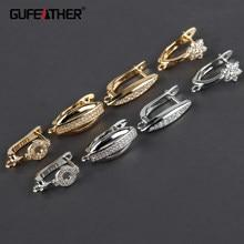 Gufeather m858, acessórios de jóias, 18k banhado a ouro, cobre metal, ródio chapeado, conector, gancho fecho, fazer jóias, 10 pçs/lote