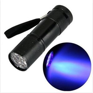 Портативный мини 9 LED алюминиевый УФ ультрафиолетовый фонарь светильник-вспышка фиолетовый светильник AAA лампы черный