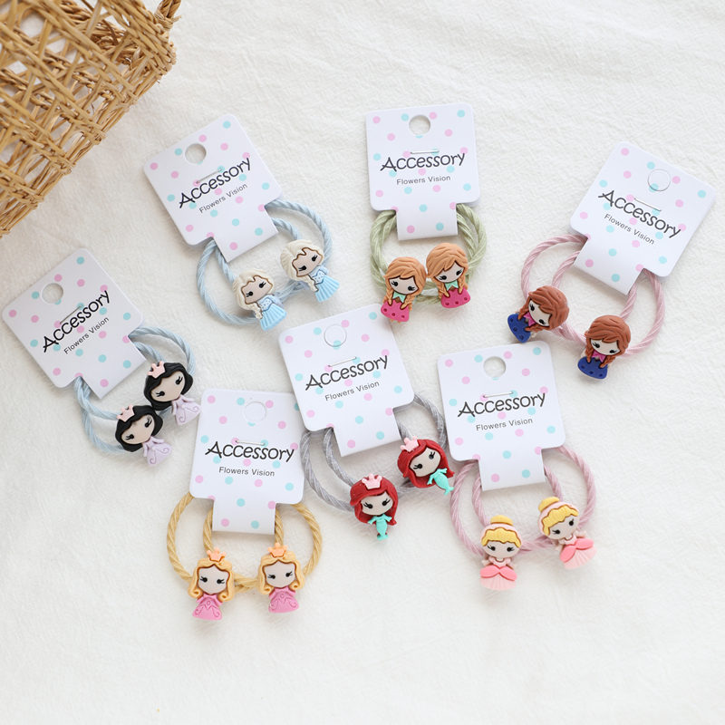 2 PCS European American Princesses BB Hairpins Kids Elastic Hair Bands Baby Headdress Children Hair Ropes Girls Hair Accessories