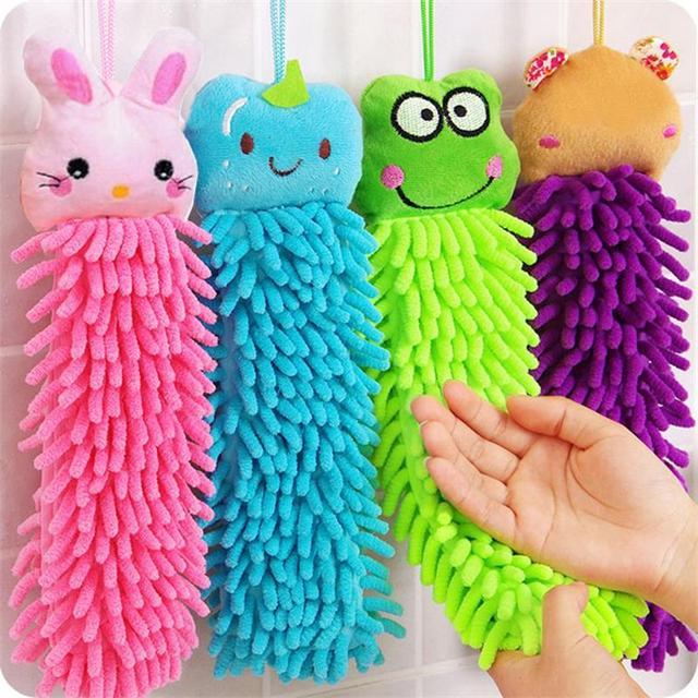 C-30CM Kitchen Hanging Towels Baby Soft Chenille Hand Face Wipe Towels Animal Washcloths Handkerchief For Children Bathroom
