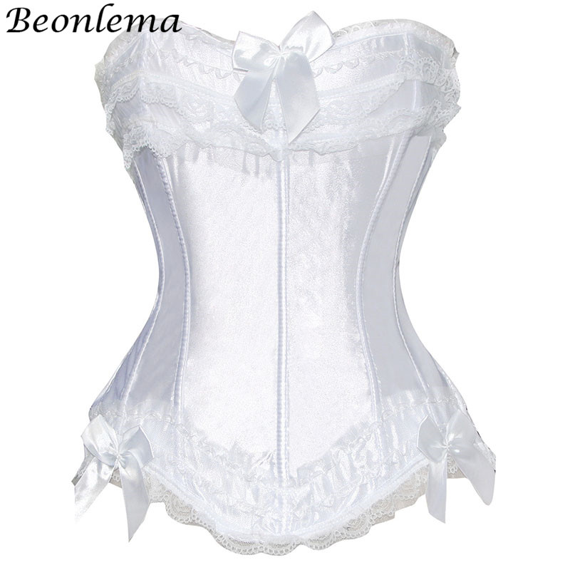 Beonlema Bridal   Corset   Women Satin   Bustier   Red White Bodice Sexy Lace Up   Corsets   Tops Female Black Overbust Lingerie