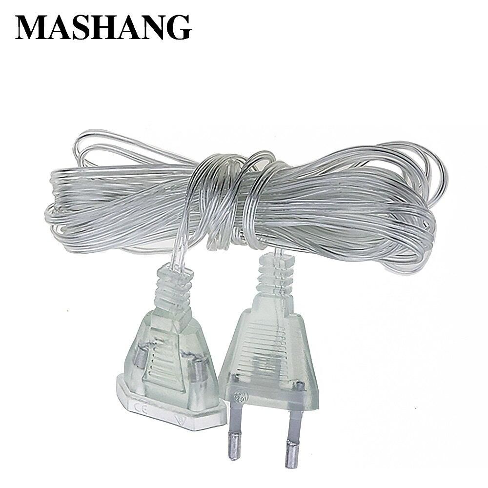 3 м 5 м разъем переменного тока удлинитель кабеля Шнур 220 В ЕС 110 В США вилка удлинитель провода низкая светодиодная гирлянда занавеска рождес...