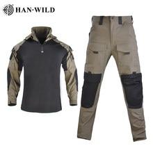 HAN WILD-uniforme militar de camuflaje táctico, traje táctico, ropa del ejército, camisa de combate militar + Pantalones de carga con 4 almohadillas