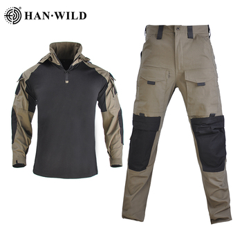 HAN WILD Tactical Camouflage Military Uniform Tactical Suit Army Clothes Military Combat Shirt+Cargo Pants with 4 Pads