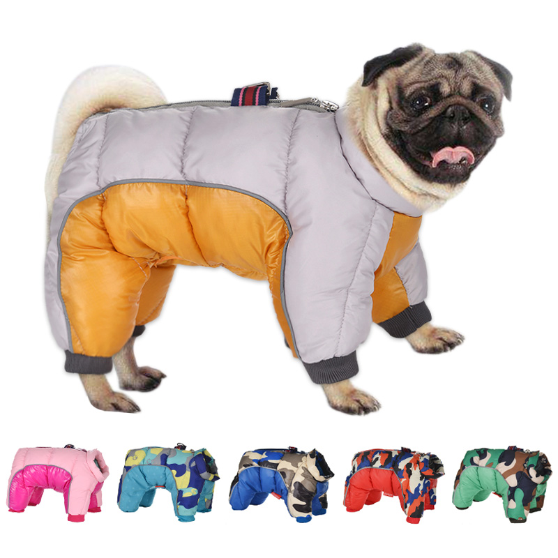Утолщенная теплая одежда для собак, зимнее пальто для щенков, куртка для собак, водонепроницаемая Светоотражающая Одежда для собак, француз...
