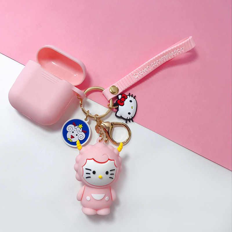 Japonês Clássico Animais Bonitos Dos Desenhos Animados Olá Kitty KT Gato Chaveiro Keychian Meninas Mulheres Charme Sacos Pingente de Chave Acessórios anel