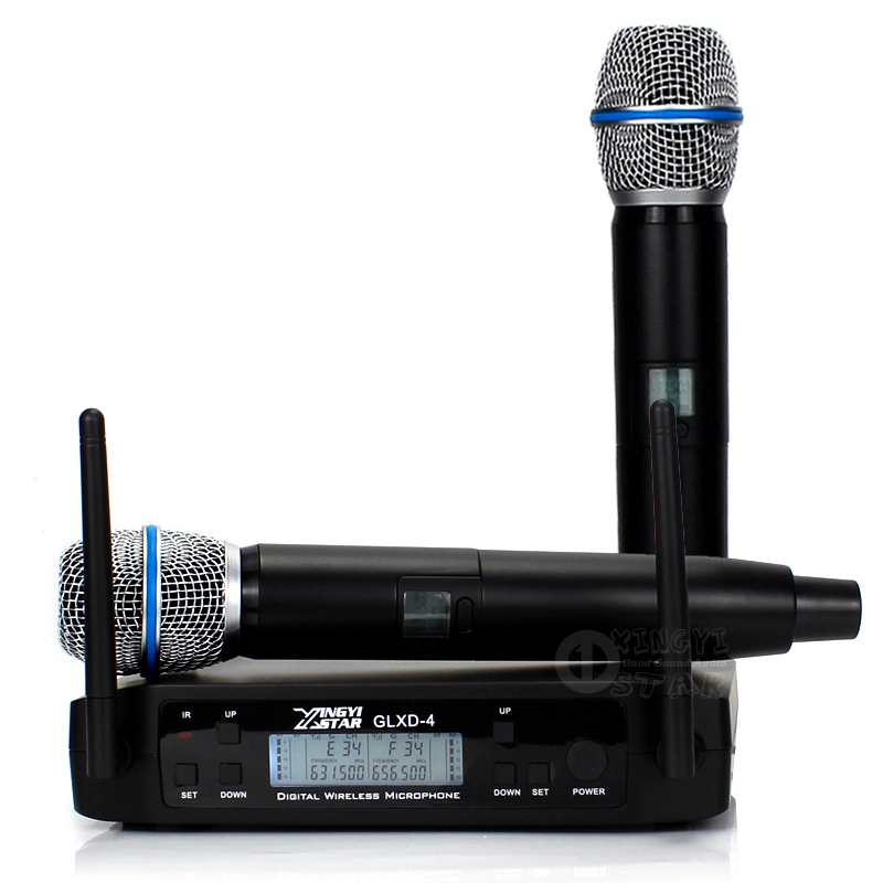 GLXD4 UHF Wireless Microphone Professional BETA87A BETA 87A Handheld Cordless Microphone System 600-650Mhz Frequency Adjustable
