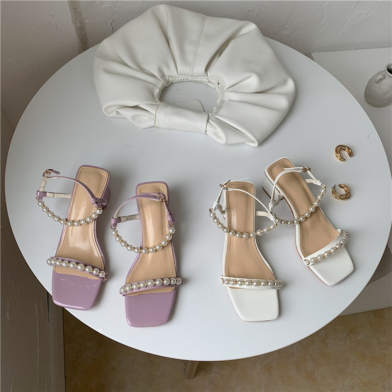Low Sandals Woman Leather 2020 Summer Clear Heels All-Match Med Sale Of Women's Shoes Buckle Strap Suit Female Beige Low-heeled(China)