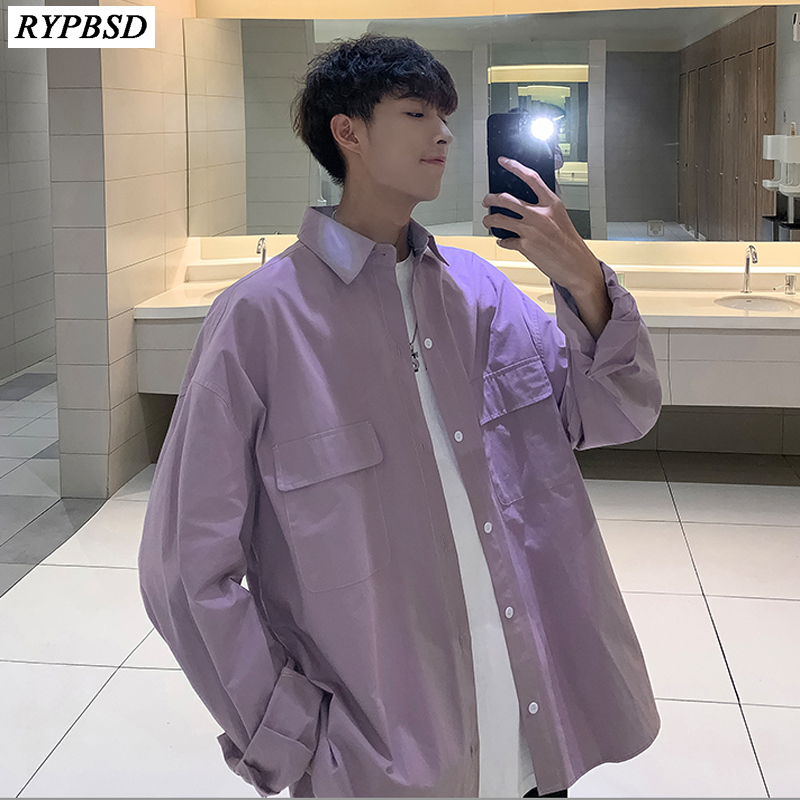 Harajuku Men Shirt Korean Fashion Loose Solid Color High Quality Long-sleeved Hip Hop Streetwear Shirt Oversize Harajuku M-XXL