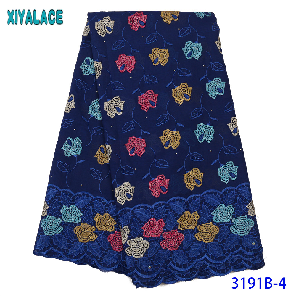 High Quality Swiss Voile Laces In Switzerland Cotton Hot Sale African Lace FabricNew Lace With Stones  Royal Blue KS3191B
