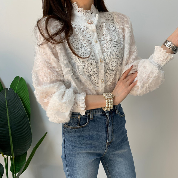 H863b3b2214ff4d9c83b4cad10850a315f - Spring / Autumn Korean Stand Collar Long Sleeves Crochet Lace Button Blouse