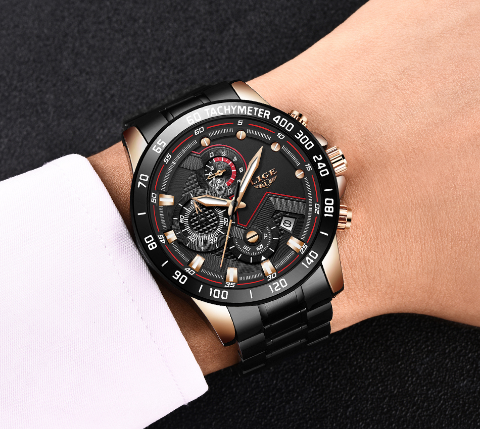 H863b475c40784f17b8a33ad10291be62N Relogio Masculino LIGE Chronograph Mens Watches Stainless Steel Waterproof Date Quartz Watch Men Business Classic Male Clock+box