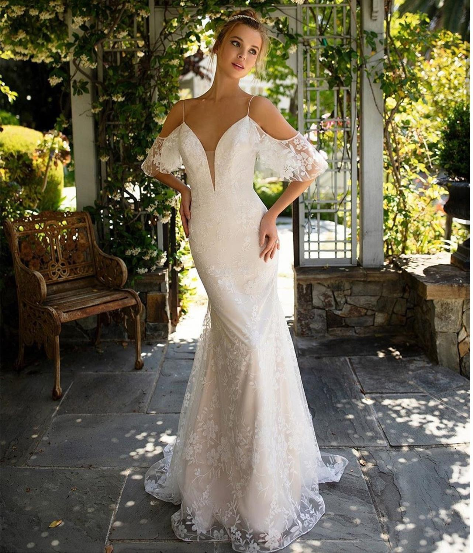 Wedding Dress Mermaid Sleeveless Spaghetti Strap Floor Length Boho Bridal Gownsrobe De Mariee  Lace Rustic Vestido De Noiva