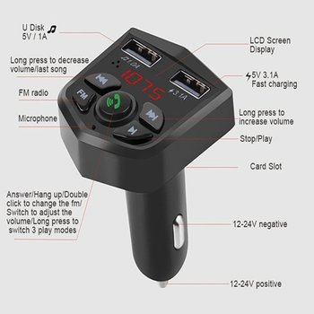 803E Bluetooth FM Transmitter Modulator Wireless Handsfree Mp3 Card U Disk Fm Player Usb Car Charger Remote Control image