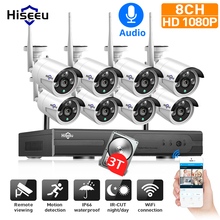 Hiseeu 1080P H.265 + Draadloze Cctv Systeem 8CH 2M Hd Wifi Nvr Kit Outdoor Audio Ip Wifi Camera security System Surveillance Set